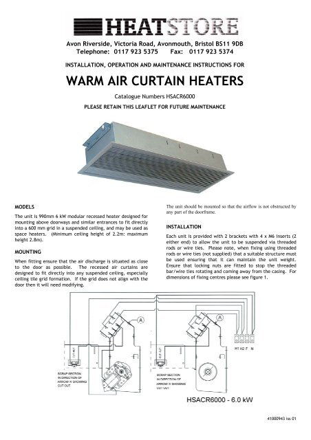 air curtain installation instructions
