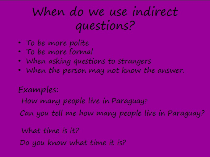 examples of indirect instruction