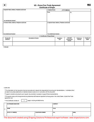 nafta certificate of origin instructions