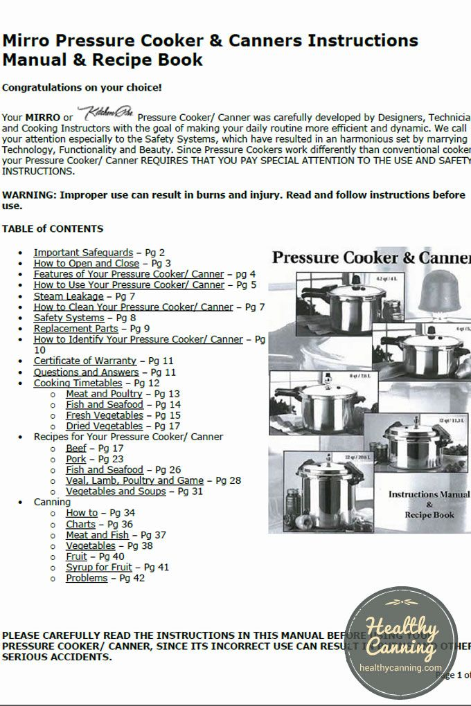 all american pressure canner instructions