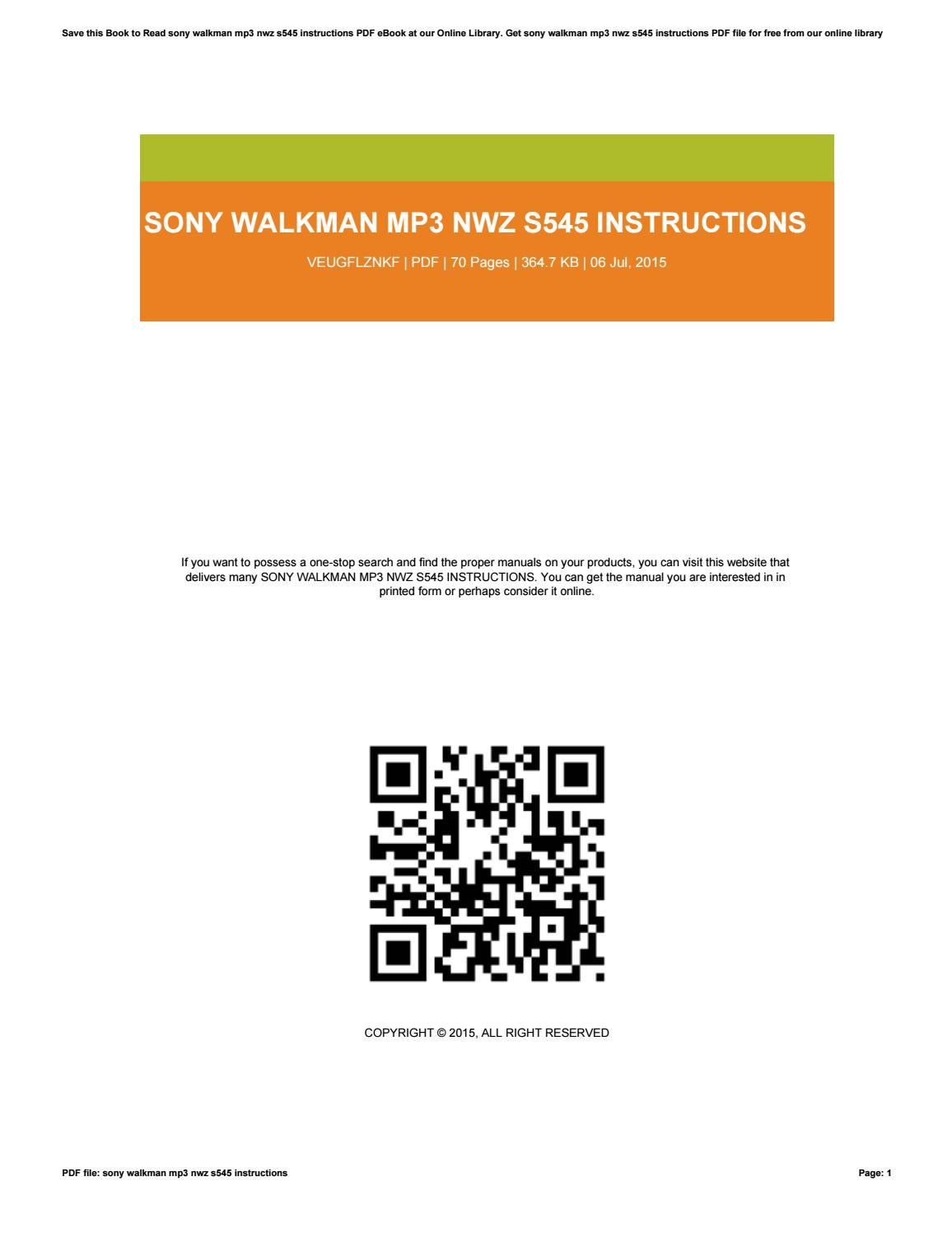 sony walkman mp3 instructions