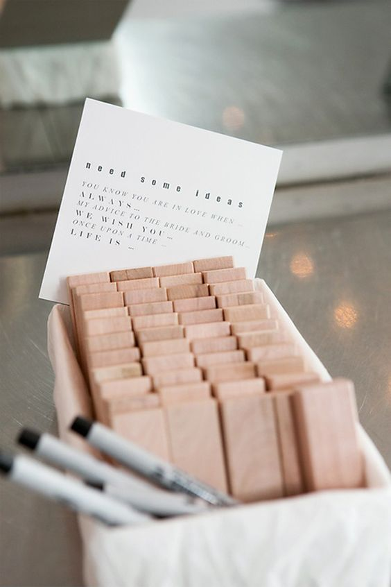 jenga wedding guest book instructions