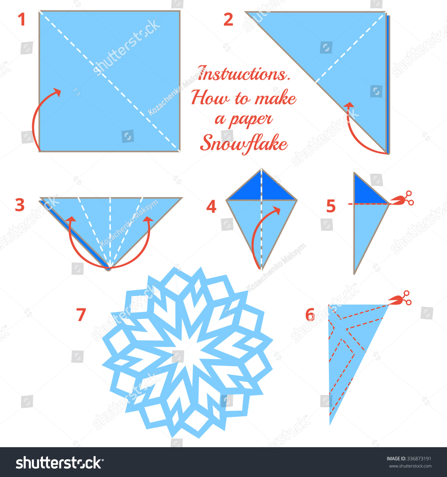 instructions on how to make a paper snowflake