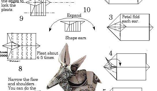 dollar bill origami elephant instructions