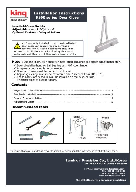 hydraulic door closer installation instructions