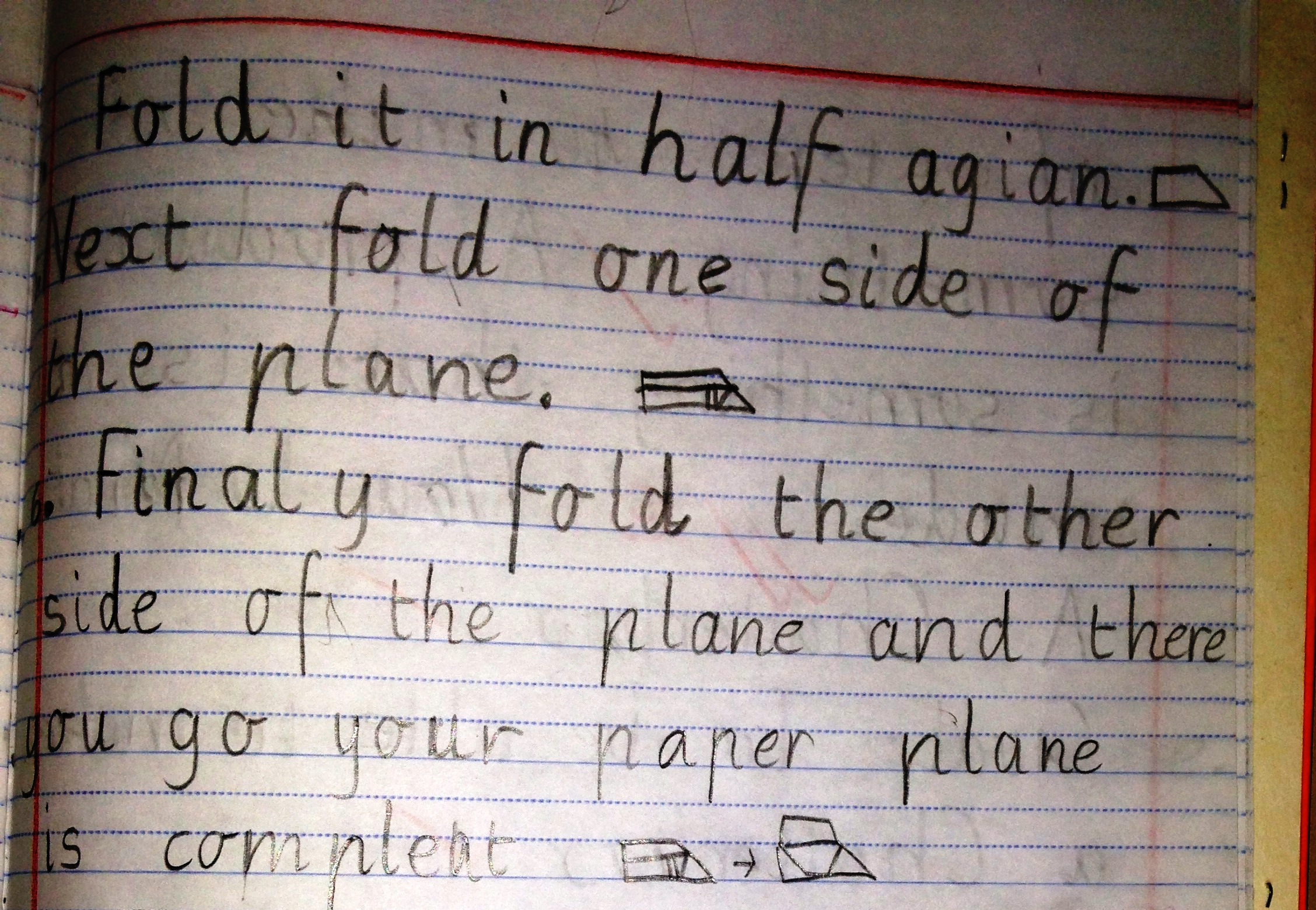 written instructions on how to make a paper airplane